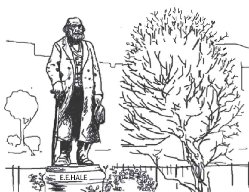 Drawing of Edward Everett Hale Statue in Boston Commons